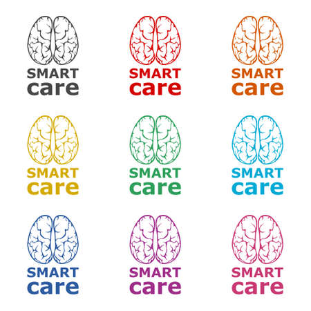 Smart care icon or logo, Anatomical design, color set Ilustração
