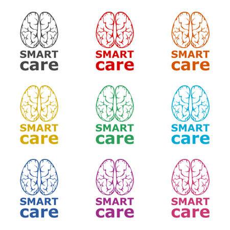Smart care icon or logo, Anatomical design, color set Illustration
