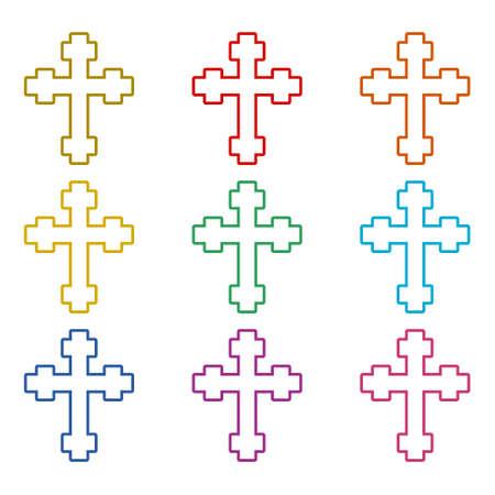 Christian church logo, Cross icon, color set Stock Illustratie