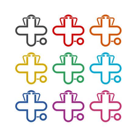 Health Medical Care icon or logo, color set