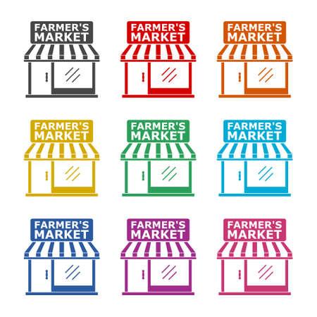 Farmer's Market sign, color set 일러스트