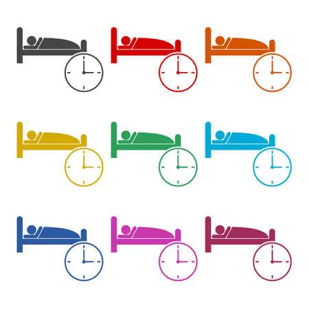 Alarm clock wakes the sleeping man, Alarm icon or logo, color set