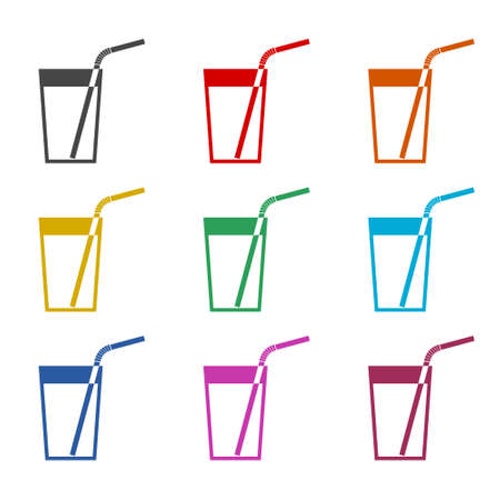 Drinking straw logo or icon, color set