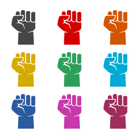 Protest logo, Power sign, Protest icon, color set Vettoriali