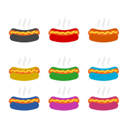 Hot Dog icon or logo, color set