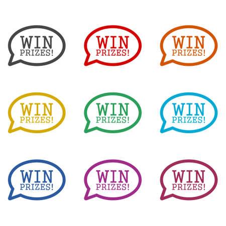 Win prizes! Win prizes icon or logo, color set