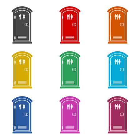 Portable toilet icon or logo, eco toilet concept