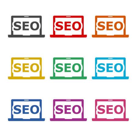 SEO concept, simple icon or logo, color set