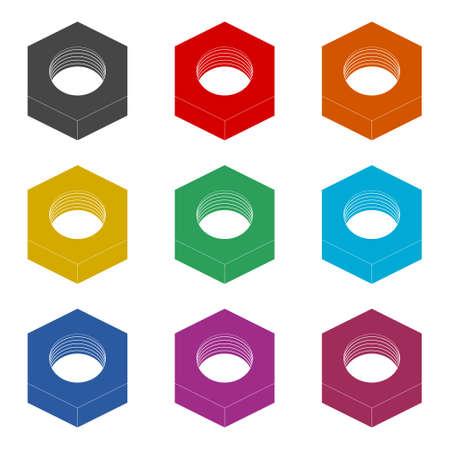 Metal Steel Screw Nut icon or logo, color set