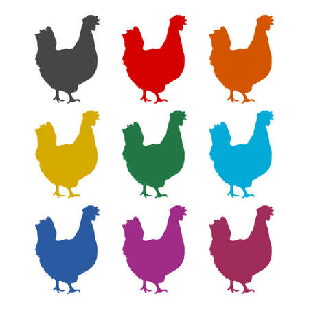Chicken (Hen) logo, chicken silhouette icon,color set Logo