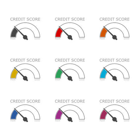 Credit Score concept icon or logo, color set