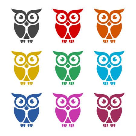 Owl Logo Template, Owl icon on logo, color set