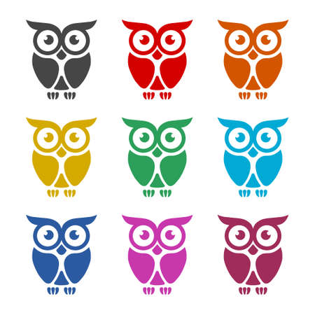 Owl Logo Template, Owl icon on logo, color set Stock Illustratie