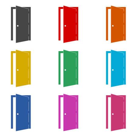 Open door simple icon or logo, color set 向量圖像