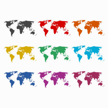 Blank world map icon or logo, color set