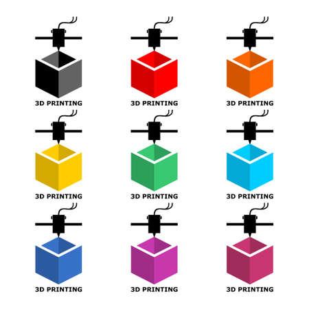 3d printing simple icon or logo, color set Ilustração