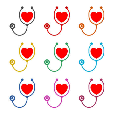 Heart with Stethoscope on white background icon or logo, color set