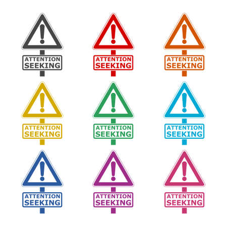 Attention seeking concept, Road sign icon or logo, color set