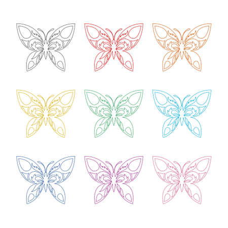Butterfly winged insect flat icon or logo, color set
