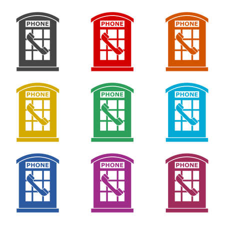 British Telephone Booth Isolated icon or logo, color set