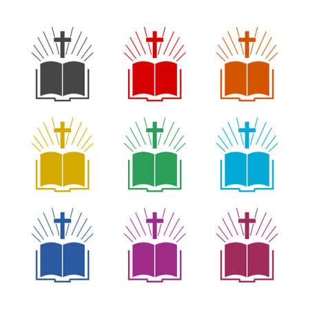 Holy Bible Flat icon or logo, color set