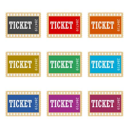 Cinema ticket icon or logo, color set