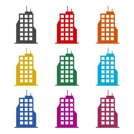 Building icon, Building logo, color set