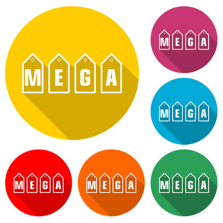 Mega price Tags icon , simple illustration, color set with long shadow