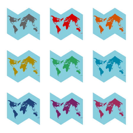 Blank world map icon  , color set