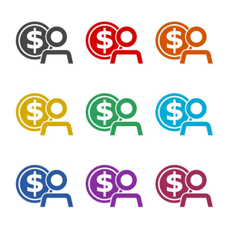 Employee wages icon , Businessman silhouette with dollar sign, User earnings icon, color set