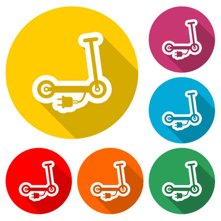 Electric scooter symbol, Scooter icon  , color set with long shadow