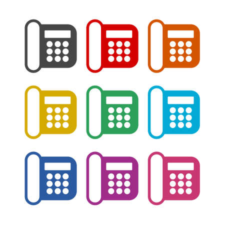 Telephone icon , Phone icon in flat style, color set