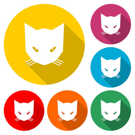 Cute Cat icon   color set with long shadow