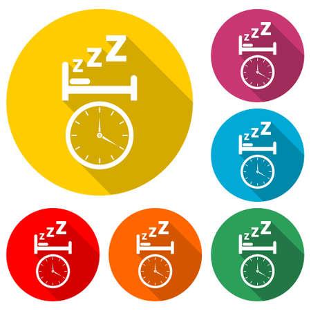 Alarm clock wakes the sleeping man, Alarm icon color set with long shadow