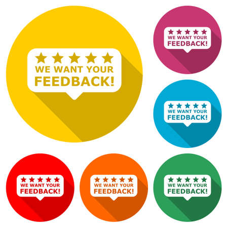 We want your feedback sign, We want your feedback icon color set with long shadow