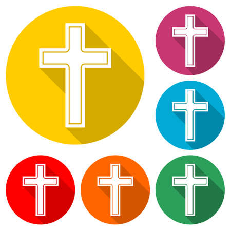 Christian church  Cross icon, color set with long shadow