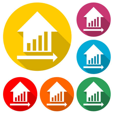 House sale  icon, color set with long shadow