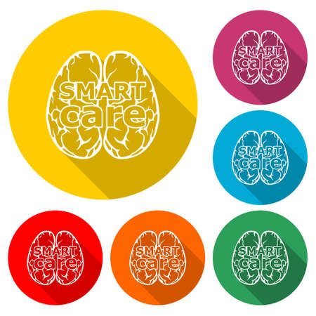 Smart care icon   Anatomical design, color set with long shadow