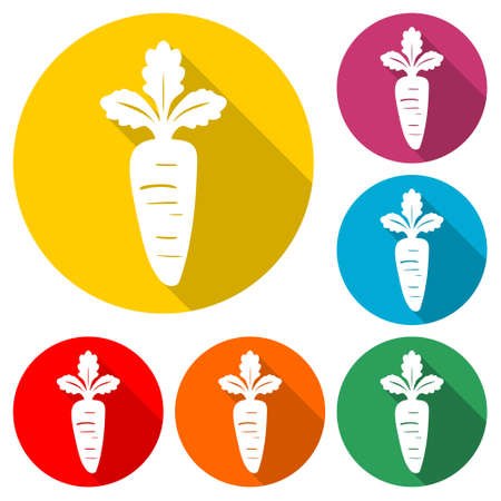 Carrot icon, Carrot logo, color set with long shadow