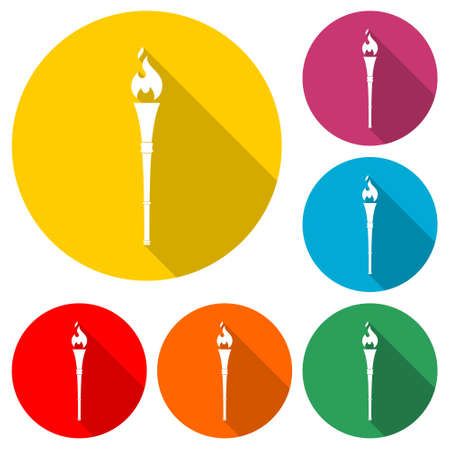 Torch With Flame icon or logo, color set with long shadow