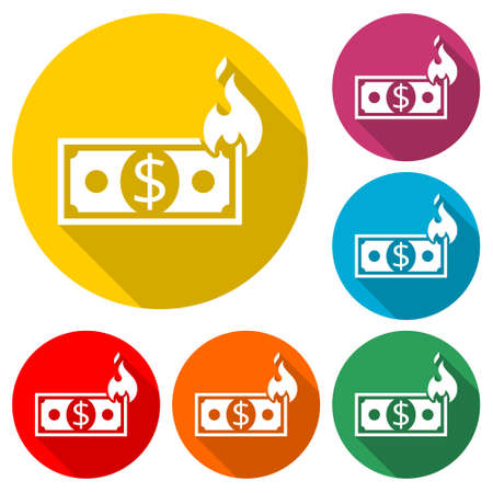 Money On Fire icon, sign,  color set with long shadow Illusztráció