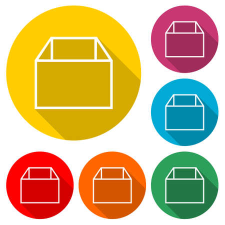 Package Delivery Box icon, color set with long shadow