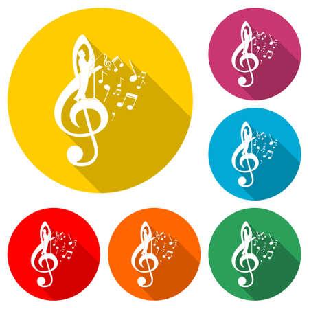 Choir guide logo, Choir icon, color set with long shadow