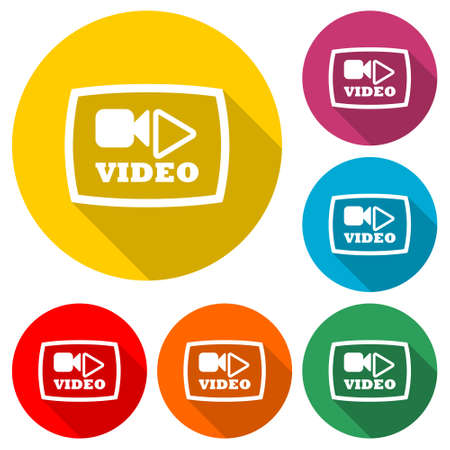 Video play button icon, color set with long shadow Ilustração