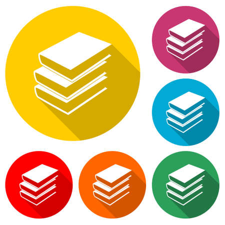 Book icon in flat style, color set with long shadow Stockfoto - 154064747