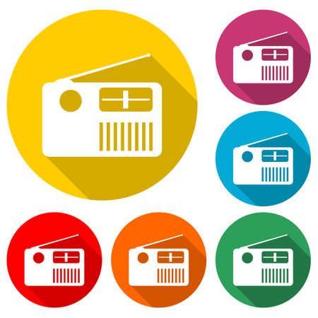 Radio creative icon, color set with long shadow Ilustrace