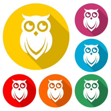 Owl icon, color set with long shadow Vector Illustratie