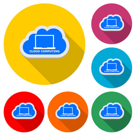 Cloud computing simple icon, color set with long shadow