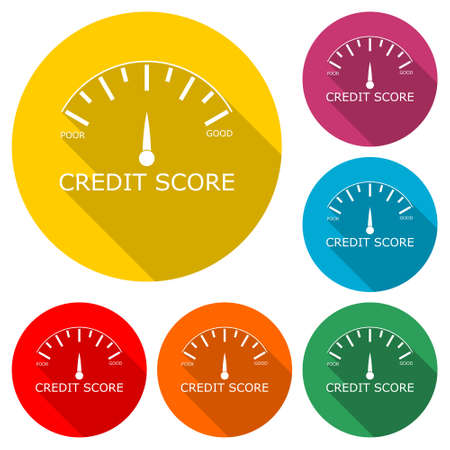 Credit Score concept icon, color set with long shadow