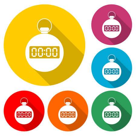 Stopwatch flat icon, color set with long shadow